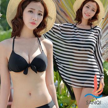 SANQI三奇 活力休閒 三件式鋼圈比基尼泳衣(黑M~L)