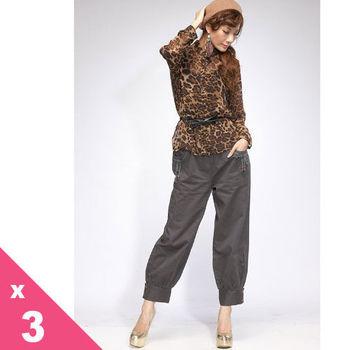 蘭陵100%厚磅磨棉顯瘦休閒美腿褲3入102-09-14(L-XXXL)
