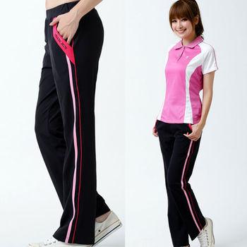 遊遍天下】MIT女款抗UV顯瘦彈性休閒吸濕排汗長褲(黑/玫紅)