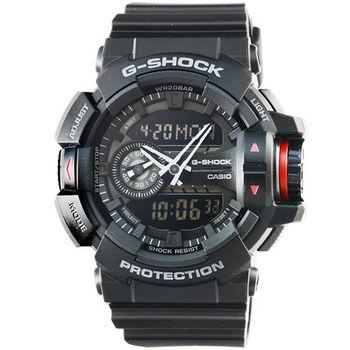 CASIO 卡西歐G-SHOCK 雙顯重機鬧鈴電子錶-黑 / GA-400-1B