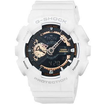CASIO 卡西歐G-SHOCK 抗磁雙顯重機鬧鈴電子錶-白 / GA-110RG-7A
