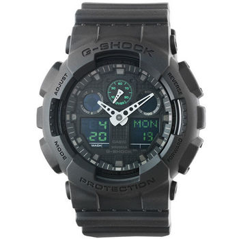 CASIO 卡西歐G-SHOCK 雙顯鬧鈴電子錶-黑綠 / GA-100MB-1A