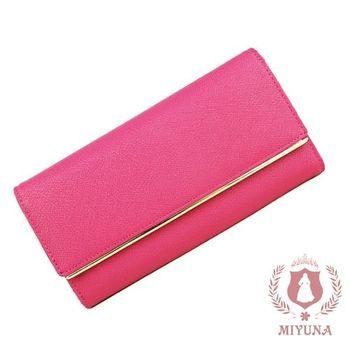 【MIYUNA】名媛十字紋真皮時尚長夾-華麗莓紅