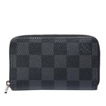 LV N63076棋盤格拉鍊名片零錢包(黑灰)