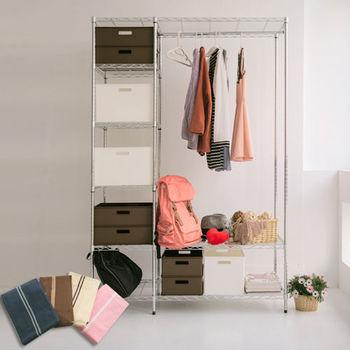 舒適屋 IRON鐵力士六層收納附布套衣櫥-122X46X180(4色可選)