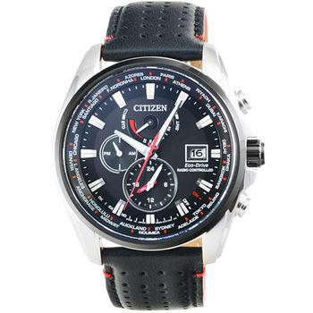 CITIZEN星辰光動能藍寶石電波鬧鈴多時區計時皮帶錶 / AT9037-05E