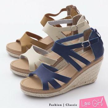 ☆Love Girl☆韓系線條羅馬風環裸楔型涼鞋