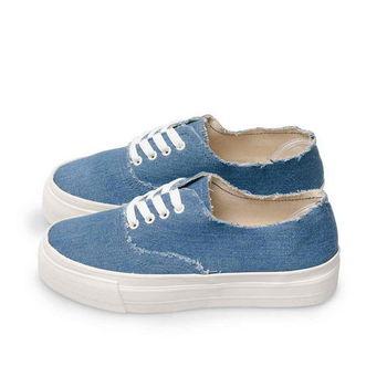 FUFA MIT 牛仔頹廢綁帶休閒鞋 (T66) 藍色