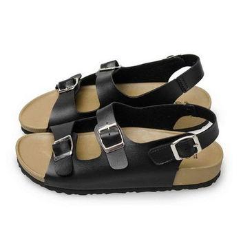 FUFA MIT 簡約雙扣環涼鞋 (FA46) 黑色