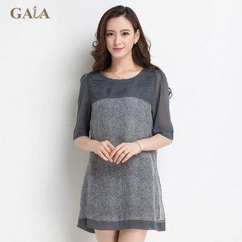 【GAIA】韓版圓領寬鬆100%蠶絲五分袖洋裝上衣