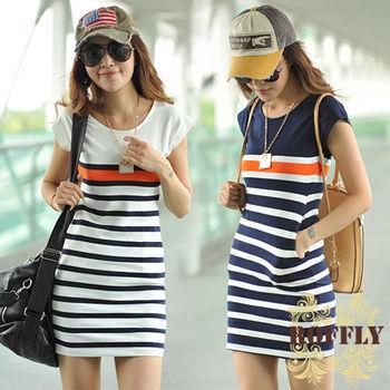 【ROFFLY蘿芙莉】(RF10038)預購-韓版條紋連衣裙純棉圓領短袖包臀洋裝