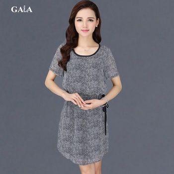 【GAIA】韓版蠶絲抽繩印花洋裝