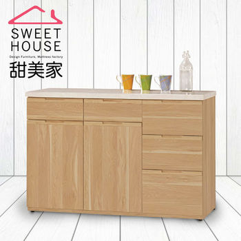 甜美家 北歐風原木白4尺石面餐櫃