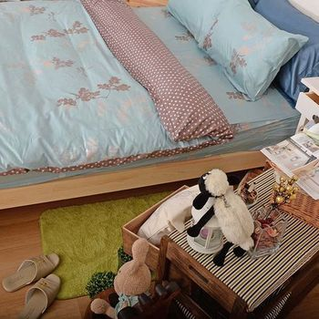 【Embrace英柏絲】雙人加大6尺 4件式床包組 床包+薄被套 【典雅韵味葉舞-綠】台灣精製