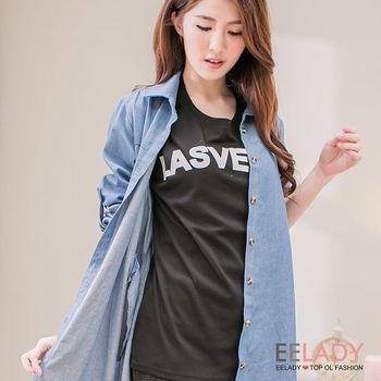 【EE-LADY】胸口袋造型字母T-黑色