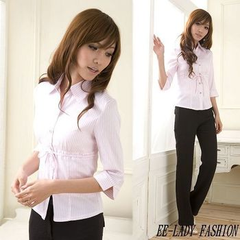 【EE-LADY】綁帶條紋亮面七分袖襯衫-粉色