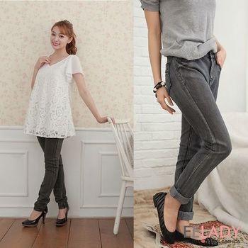 【EE-LADY】口袋貼鑽黑色刷白直筒牛仔褲-黑色