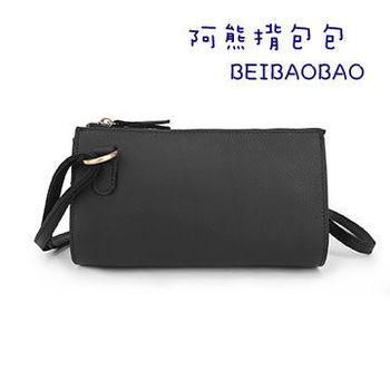 【BEIBAOBAO】復古經典款真皮隨身包(百搭黑)