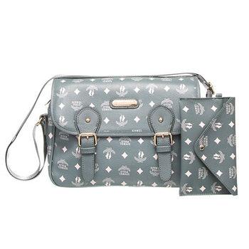 【XINWEI POLO】奢華LOGO風側背包附零錢包(723)-灰綠色