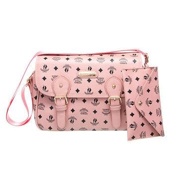 【XINWEI POLO】奢華LOGO風側背包附零錢包(723)-粉色