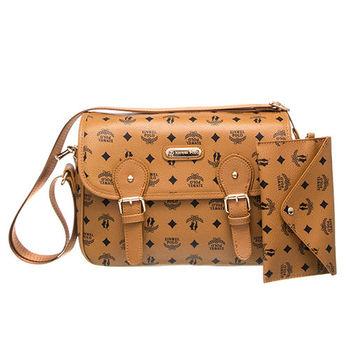 【XINWEI POLO】奢華LOGO風側背包附零錢包(723)-棕色