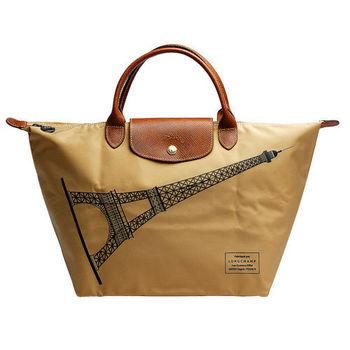 LONGCHAMP 巴黎鐵塔紀念款拉鍊摺疊短把購物包(中-駝色)