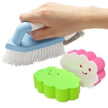【特惠組】日本AISEN黏貼式雲朵海綿刷+兩用磁磚清潔刷