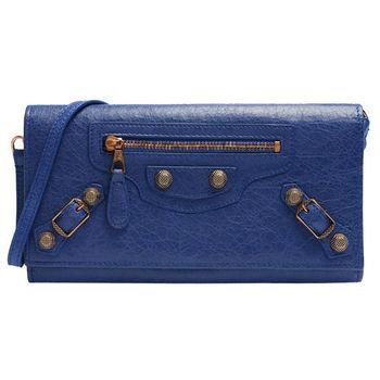 BALENCIAGA 巴黎世家PORTEFEUILLE玫瑰金釦多卡手提長夾 (藍紫色)