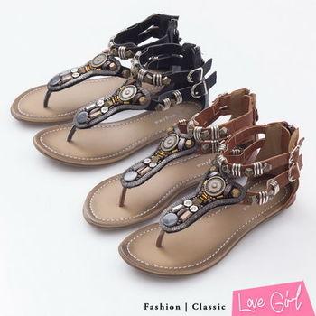 ☆Love Girl☆異國風扣飾拼接羅馬夾腳涼鞋