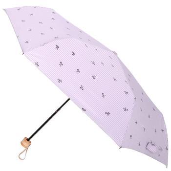 【2mm】銀膠抗UV 蝴蝶結條紋輕量手開傘(紫色)