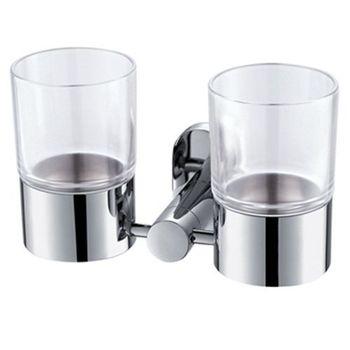 【TAP】衛浴配件-亮面不鏽鋼雙杯架
