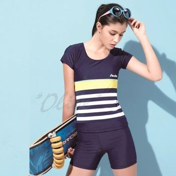 【沙麗品牌】台灣製MIT時尚短袖二件式泳裝NO.4110有加大款(現貨+預購)