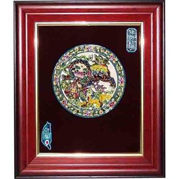 【鹿港窯】交趾陶裝飾壁畫-雙獅戲球(M)