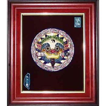 【鹿港窯】交趾陶裝飾壁畫-太極咬劍獅王(M)