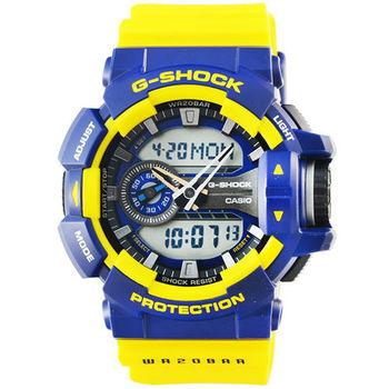 CASIO 卡西歐G-SHOCK 雙顯重機鬧鈴電子錶-藍 / GA-400-9B