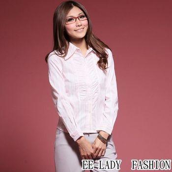 【EE-LADY】前襟皺褶條紋長袖襯衫-粉色