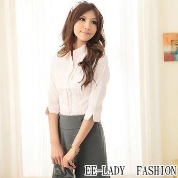 【EE-LADY】荷葉條紋七分袖襯衫-粉色