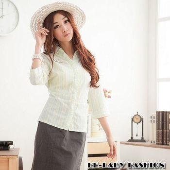【EE-LADY】直條紋泡泡布七分袖襯衫-綠色