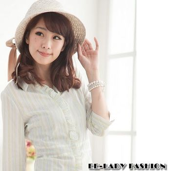 【EE-LADY】直條紋泡泡布七分袖襯衫-藍色