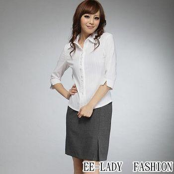 【EE-LADY】荷葉蓋扣七分袖襯衫-白色