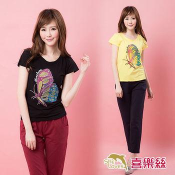 【SHELOVES 喜樂絲】9B15A46-經典時尚雙色蝴蝶印花舒適百搭短袖上衣