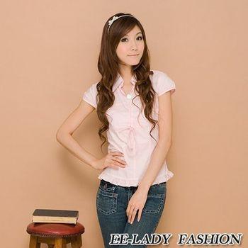 【EE-LADY】下擺荷葉抓皺小包袖襯衫-粉色(34)