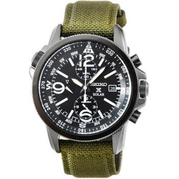SEIKO精工光動能大錶徑雙時區三眼計時鬧鈴帆布錶 / SSC295P1