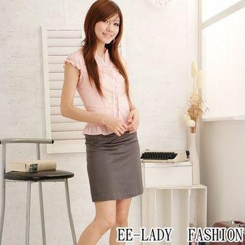 【EE-LADY】荷葉蕾絲小包袖襯衫-粉色(34-42)