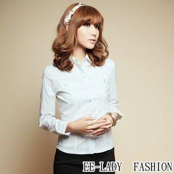 【EE-LADY】雙口袋直條紋長袖襯衫-綠色(34-36)