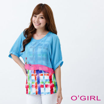 OGIRL粉彩格紋假兩件上衣(淺藍)