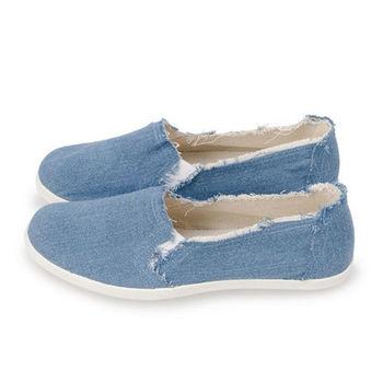 FUFA TIM素色抽鬚懶人鞋(A39)藍