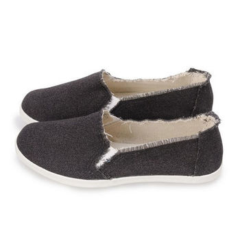 FUFA TIM素色抽鬚懶人鞋(A39)黑
