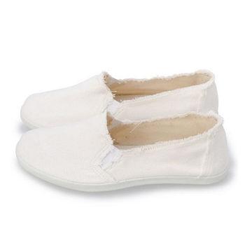 FUFA TIM素色抽鬚懶人鞋(A39)米