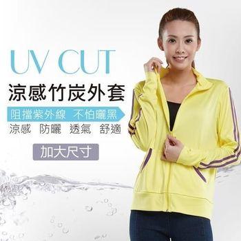 【戀夏好物】台灣製 加大 抗UV防曬 輕薄涼感竹炭外套(黃)